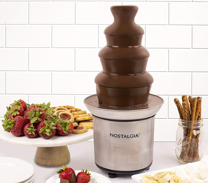 Nostalgia CFF986 4-Tier 2-Pound Stainless Steel Chocolate Fondue Fountain